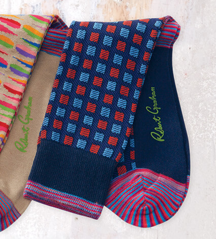 Robert Graham Bucks Sock in Navy